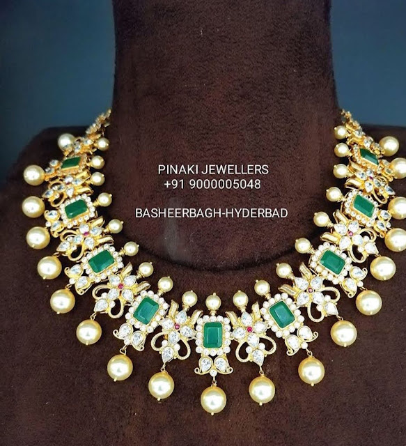 Emerald Kundan Designs by Pinaki Jewellers