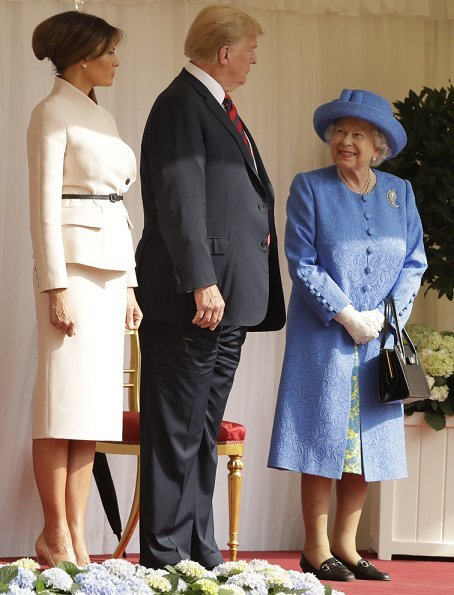 Queen Elizabeth II welcomed President Donald Trump and First Lady Melania Trump at Windsor Castle. Queen for tea