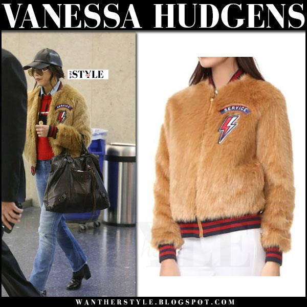 Vanessa Hudgens in brown faux fur mother jacket with black leather cap vianel what she wore