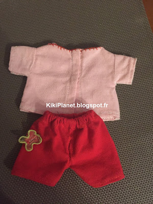 tee shirt pantalon, kiki monchhichi, couture, vêtement poupée fait main handmade