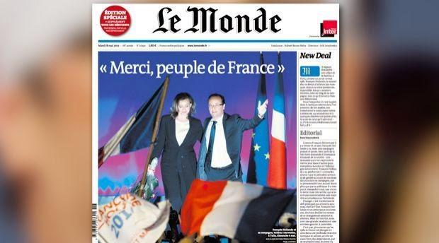 Couverture du Monde le lendemain de la victoire de François Hollande, 7 mai 2012