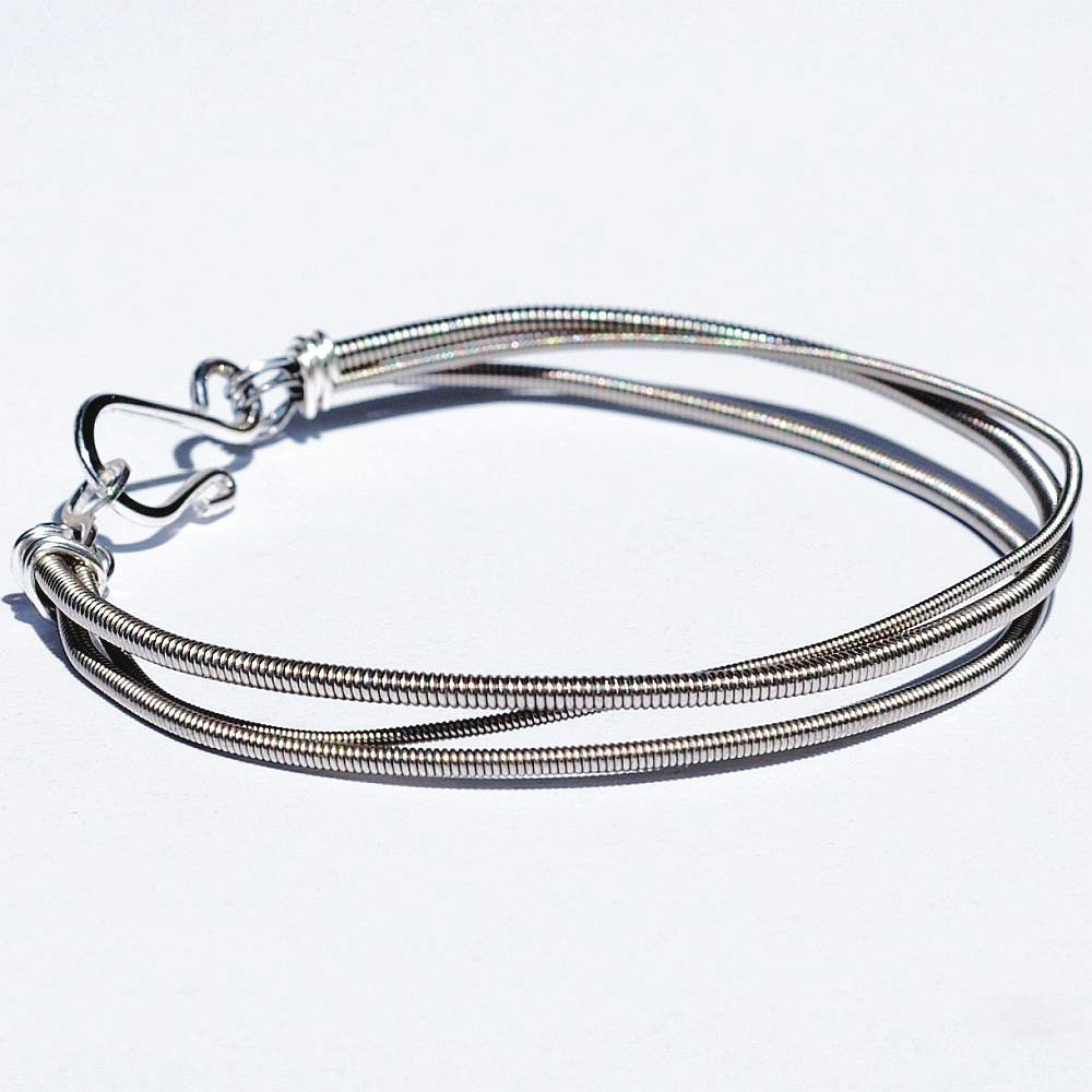 guitar string jewelry by tanith rohe bass guitar string bracelet 3 strand upcycled jewelry