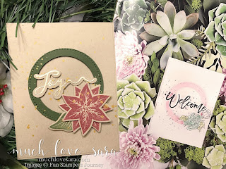 This handmade Christmas card was made using inspiration from the card from the cover of the Fun Stampers Journey 2017-2018 Inspiration Book and Catalog.  Even when you feel you aren't creative, you can create fun and pretty cards using others for inspiration!