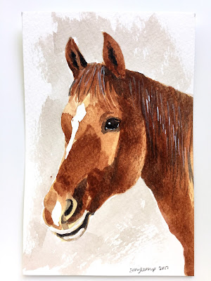 beginner watercolor painting of a horse on Strathmore 500 watercolor paper