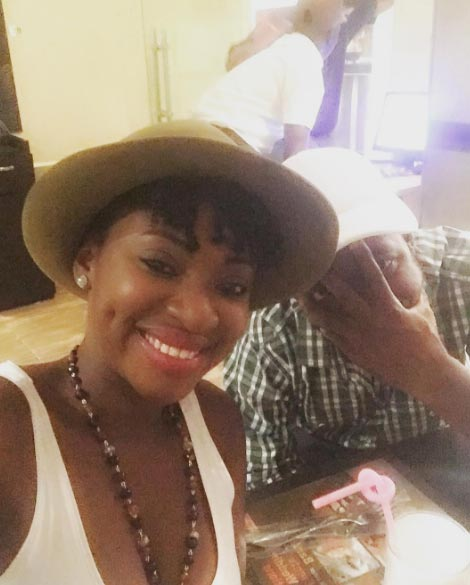 Yvonne Jegede goofs around with her fiance on a date
