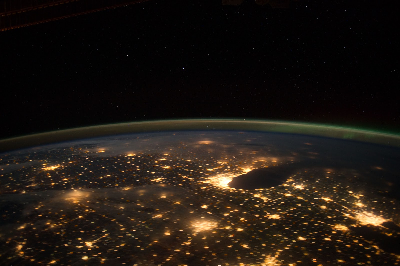 Chicago and Indianapolis from space at night