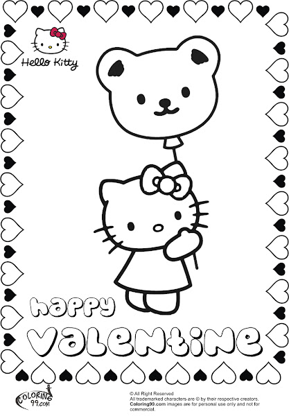 Cupid valentine heart coloring pages for Hello kitty valentine coloring pages