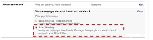 Chặn tin nhắn rác trên facebook