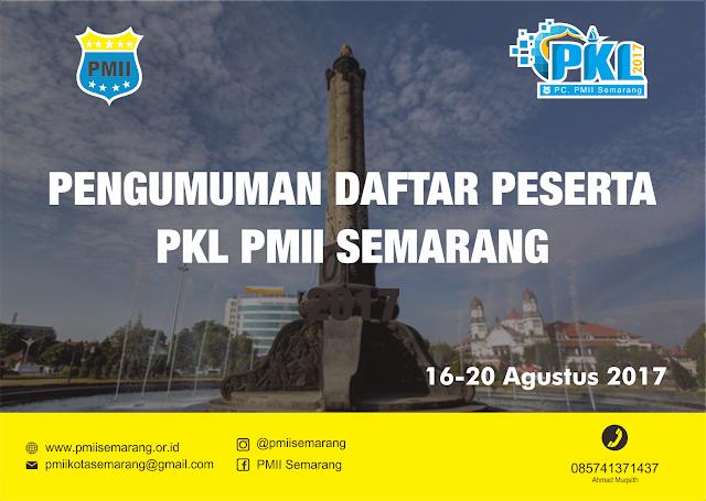 Berikut ini adalah daftar nama calon peserta PKL PMII Cabang Kota Semarang Tahun 2017