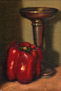 Oil painting of a red pepper beside a silver-plated vase.