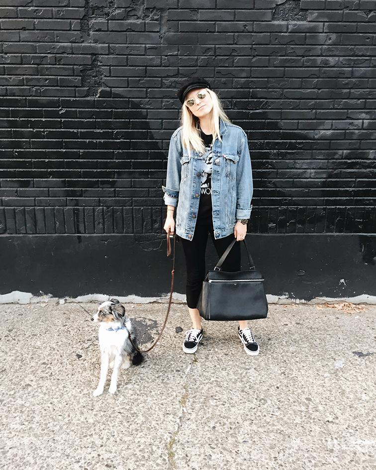 heleneisfor, Levi's men's trucker jacket, Zulu & Zephyr pants, Vans sneakers, Brixton hat, Warby Parker sunglasses, Celine Edge bag, Wallyface