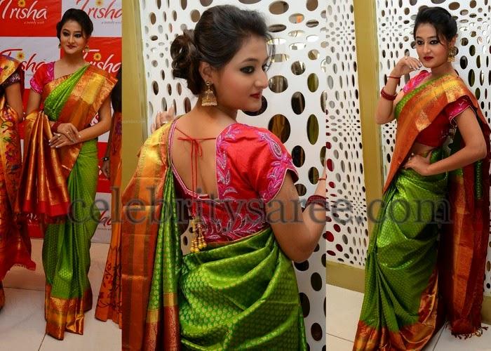 Niloufer Green Silk Saree Saree Blouse Patterns