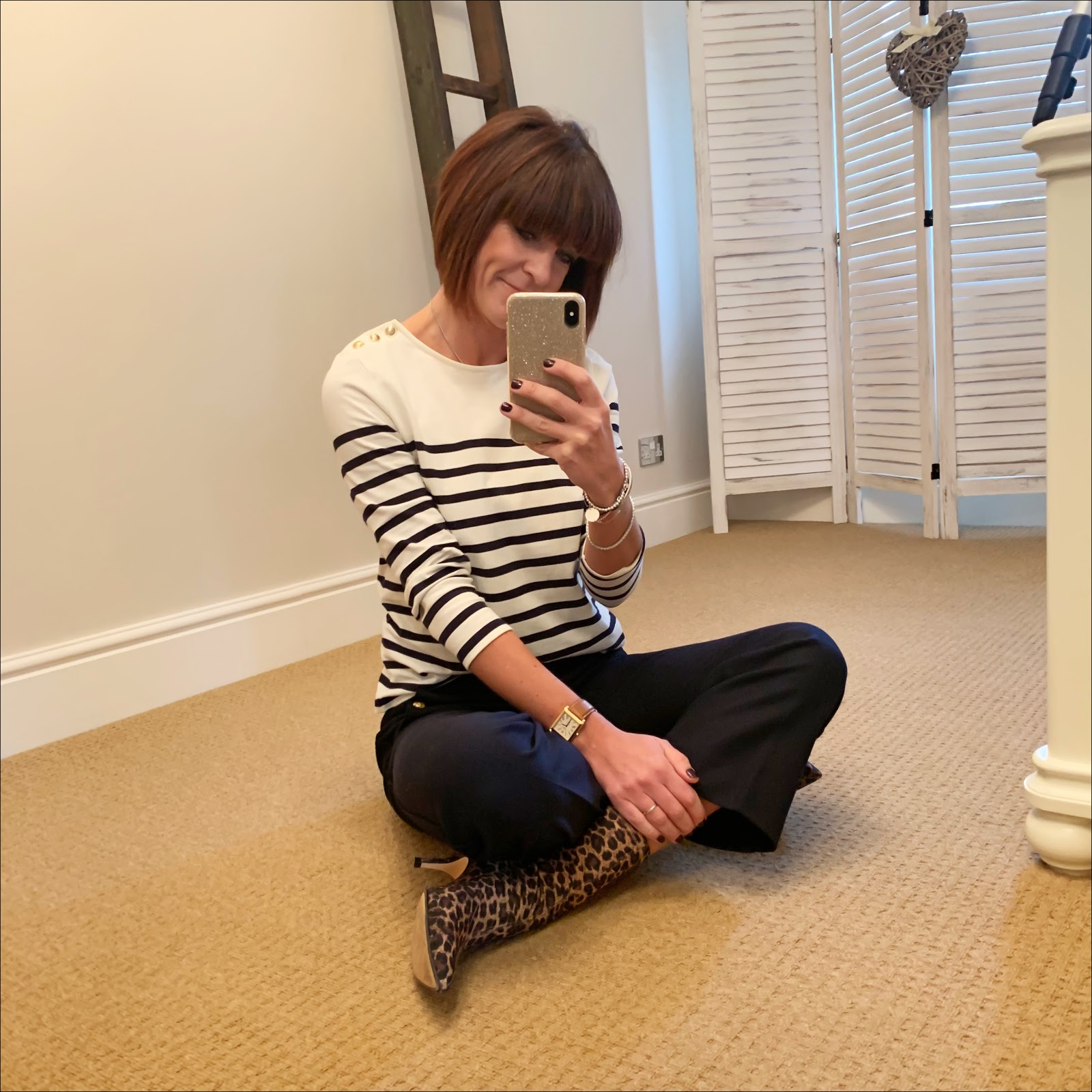 my midlife fashion, sezane breton top with gold button detailing, j crew cropped kick flare sailor trousers, zara leopard print sock boots