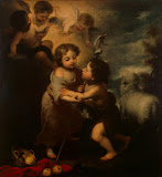 Infant Jesus and St John by Bartolome Esteban Murillo - Christianity Paintings from Hermitage Museum
