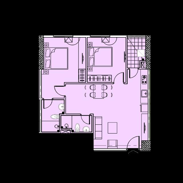 Thiết kế căn hộ A2 tòa Park1,2 chung cư EuroWindow River Park