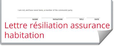 Lettre résiliation assurance habitation