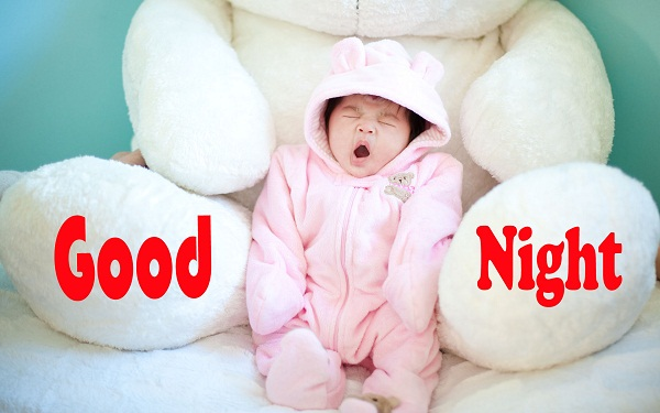 Good Night Image with a cute baby and big teddy bear