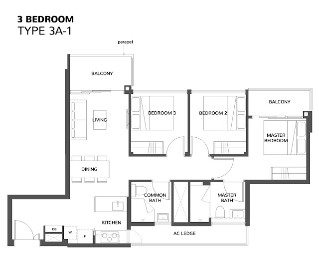 The Wisteria @ Yishun Floor Plan 3 Bedroom