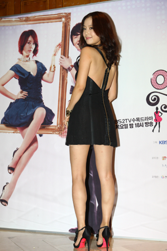 Moon Chae Won (문채원) wearing a dress from versace Spring 2009 collection, at press conference for My Fair Lady which took place on 13 August 2009 at the Kangnam Ritz Carlton Hotel.