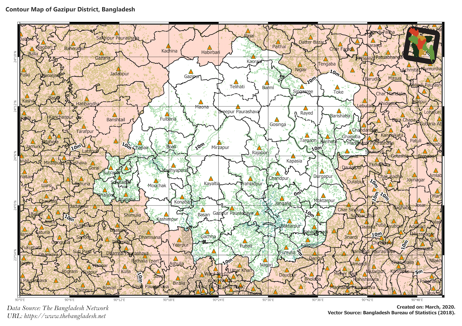 Elevation Map of Gazipur District of Bangladesh