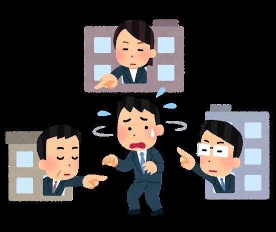 たらい回しのイラスト(スーツ・男性)