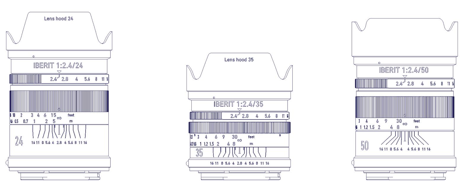 Handevision Iberit 35mm f/2.4, 50mm f/2.5 и 75mm f/2.4, схематический рисунок