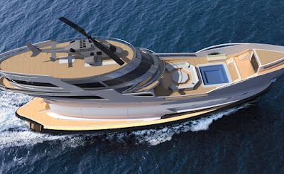 Luxury 200ft super yacht with its own helipad .. Caronte