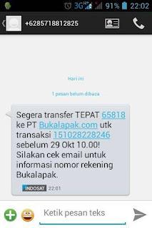 Sms dari Bukalapak