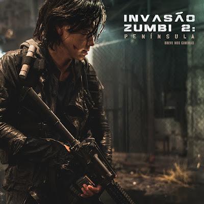 Novo personagem do filme Invasão Zumbi 2: Península com uma arma na mão