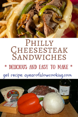 Make homemade philly cheesesteak sandwiches easily by cooking the meat in your crockpot slow cooker. This is a gluten free version -- top with your favorite cheese and serve in hoagie buns. YUM.