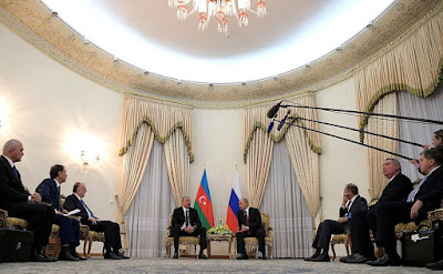 Vladimir Putin at a meeting with President of Azerbaijan Ilham Aliyev.