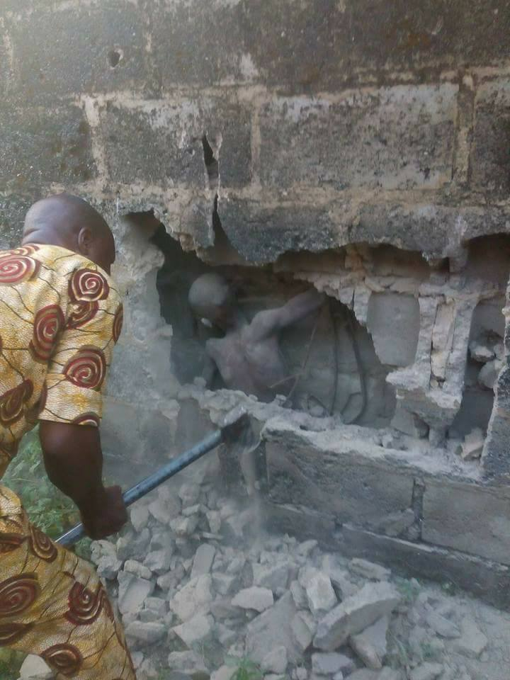 Mystery In Ondo As People Break Walls To Rescue Boy Found Inside Moulded Block