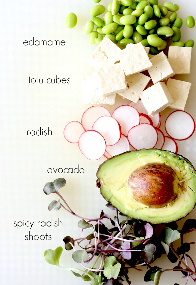 ingredients for vegetarian poke recipe