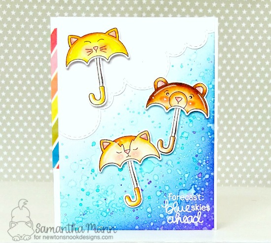 Blue Skies Ahead Card by Samantha Mann | Umbrella Pals Stamp Set and Sky Borders Die Set by Newton's Nook Designs #newtonsnook #handmade