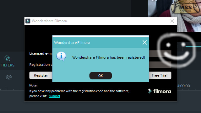 wondershare filmora registration key and code