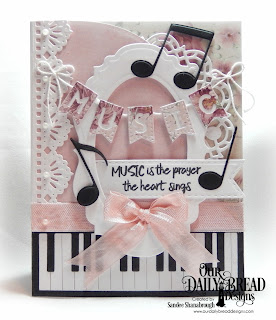 Our Daily Bread Designs Stamp Set: Marvelous Things, Custom Dies:Piano, Musical Notes, Vintage Label, Doily, Beautiful Borders, Ovals, Double Stitched Pennant Flags, Alphabet Flags, Paper Collection: Romantic Roses