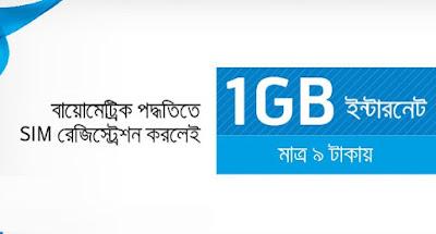 Grameenphone 1GB internet at 9tk for biometric registered SIM users