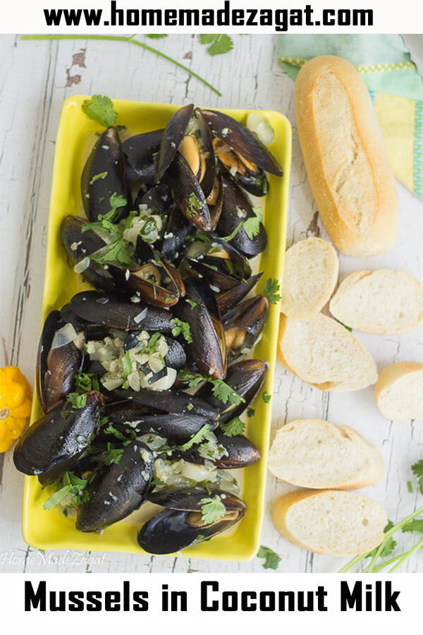 Delicious coconut milk simmered mussels
