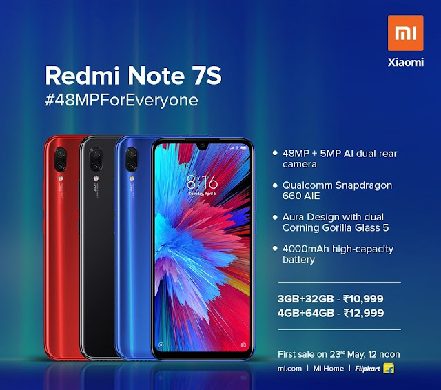 Redmi Note 7S with 48MP rear-camera launched at Rs. 10,999