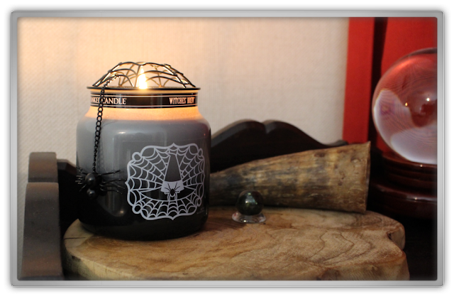 Yankee Candle haul review Halloween Autumn illuma lid spider web Witches Brew Medium Jar patchouli witch