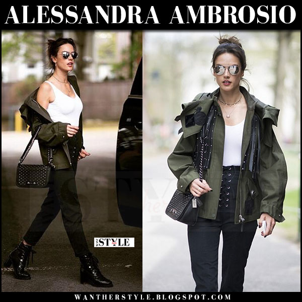Alessandra Ambrosio in green jacket, white wolford bodysuit and black pants what she wore may 2017 streetstyle