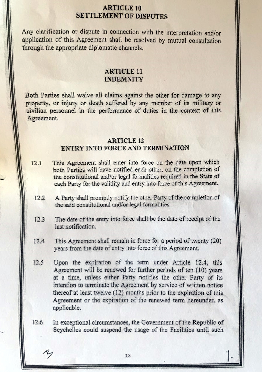 Seychelles voice leaked 2018 revised seychelles india agreement assomption seychelles islands platinumwayz