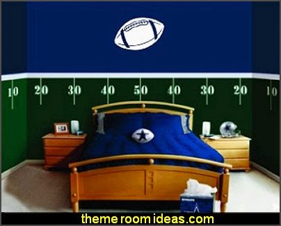 Football Field Wall Decal Kits  Sports Bedroom decorating ideas -  Wrestling theme bedroom decorating - boxing theme bedrooms - martial arts - skateboarding theme bedrooms  - football - baseball - basketball theme bedrooms - basketball bedding - golf theme bedrooms - hockey bedding - theme beds sports