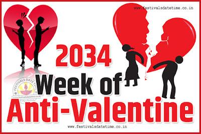 2034 Anti-Valentine Week List, 2034 Slap Day, Kick Day, Breakup Day Date Calendar