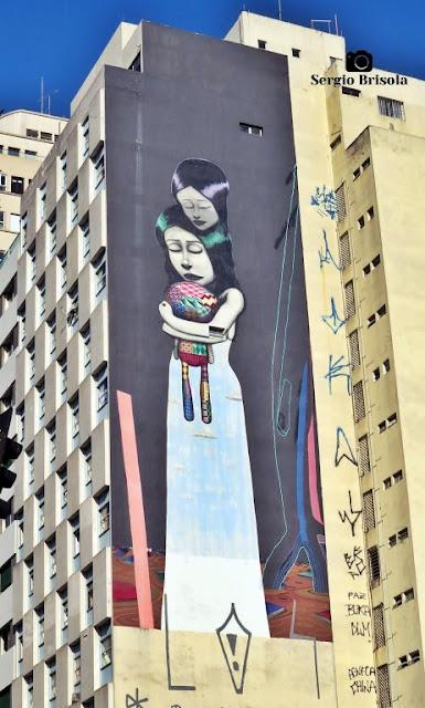 Vista ampla do Mural O.Bra Festival 2015 - Largo do Arouche - São Paulo