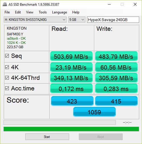 HyperX Savage 240 GB w teście AS SSD Benchmark