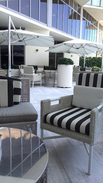 St Regis, Miami, patio, black and white, decor