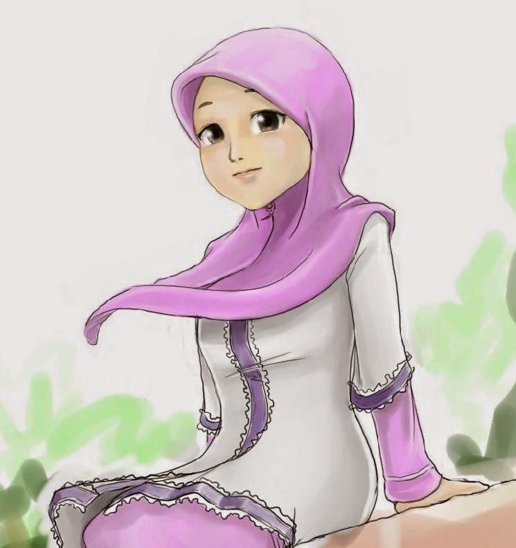 Kumpulan Gambar Kartun Cantik Hijab Ungu