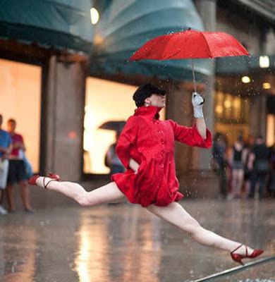 Feel Free with Dancing Style in the Rain