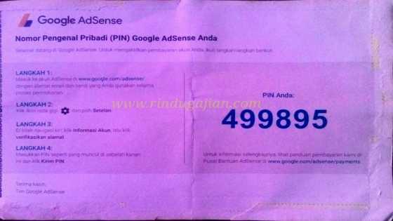 PIN adsense tetap sampai meskipun alamat tanpa nomor rumah